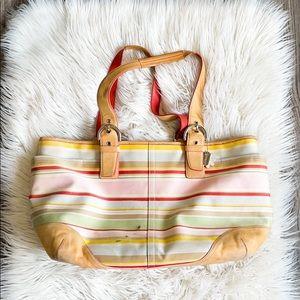 Coach Heritage Stripe Diaper Bag